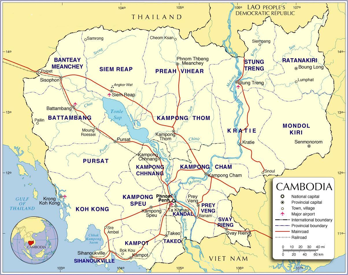 Cambodgia Harta Rutiera Harta Cambodgia Drum Asia De Sud Est